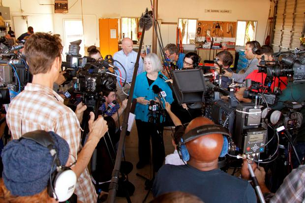 Umpqua Community College interim president Rita Cavin speaks to the media after a mass shooting at Umpqua Community College in Roseburg, Oregon October 1, 2015. REUTERS/Steve Dipaola