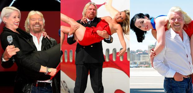 Richard Branson has a long history of lifting up women (L to R) Sinead Kennedy, Kate Moss and Dita Von Teese
