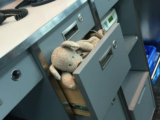 He managed to escape from the 'lost and found' drawer Credit : Toronto Airport Facebook