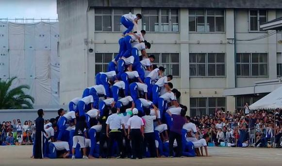 The moment that the human pyramid begins to wobble Credit: Ojichandesu (Youtube)
