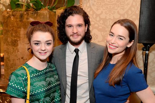 Actors Maisie Williams, Kit Harington and Emilia Clarke attend the 14th annual AFI Awards Luncheon at the Four Seasons Hotel Beverly Hills on January 10, 2014 in Beverly Hills, California.