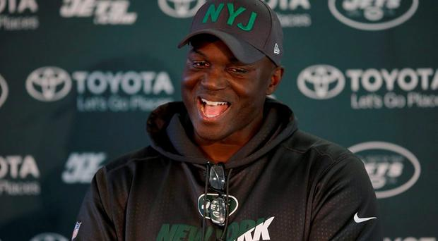 New York Jets head coach Todd Bowles speaks during a press conference after an NFL training session at London Irish training ground in south west London today