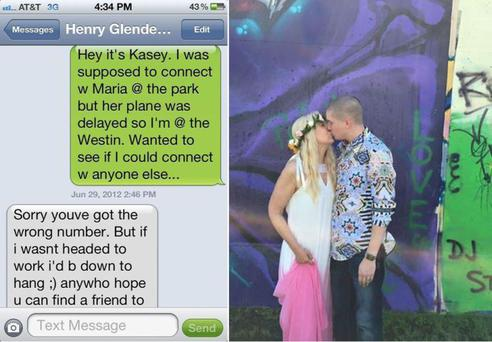 That fateful text message & the happy couple tying the knot Credit: Kasey Bergh (Facebook)