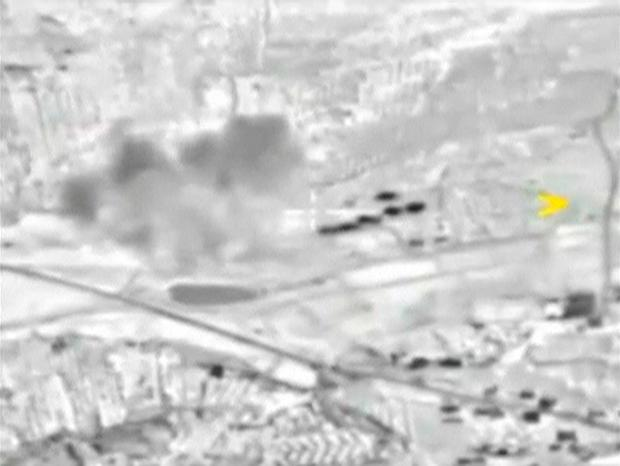 A frame grab taken from footage released by Russia's Defence Ministry shows smoke rising after airstrikes carried out by Russian air force in Maarat al-Numan in Syria Credit: REUTERS/Ministry of Defence of the Russian Federation