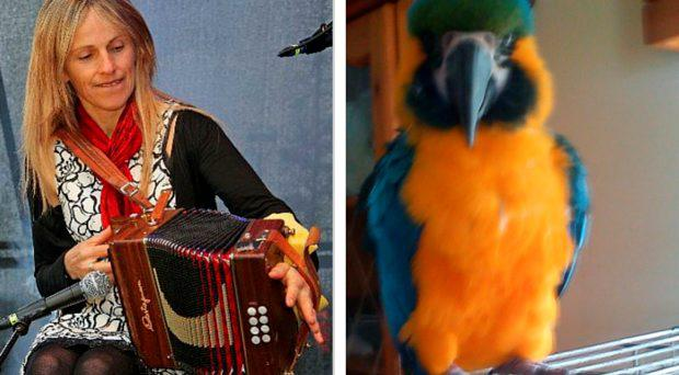 Sharon Shannon and (right) Charlie the parrot