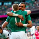 Simon Zebo celebrates with Keith Earls