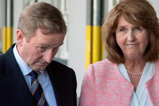 Taoiseach Enda Kenny and Tánaiste Joan Burton launching the Government's Capital Investment Plan at Heuston Station, Dublin, this week Photo: Mark Condren
