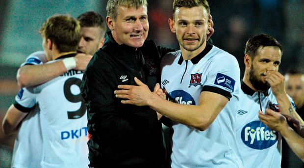 Dundalk manager Stephen Kenny celebrates with Andy Boyle at the end of the game. FAI Cup, Semi-Final, Dundalk v Longford Town, Oriel Park, Dundalk, Co. Louth. Picture credit: David Maher / SPORTSFILE
