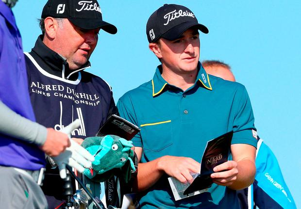 Paul Dunne on the eighth tee during the second round of the 2015 Alfred Dunhill Links Championship