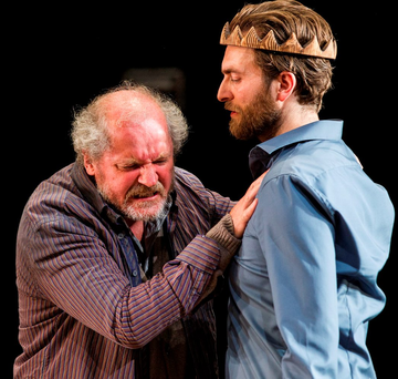 Peter Gowen (left) as Tiresias and Barry John O'Connor as Oedipus at the Abbey Theatre, Dublin, as part of Dublin Theatre Festival