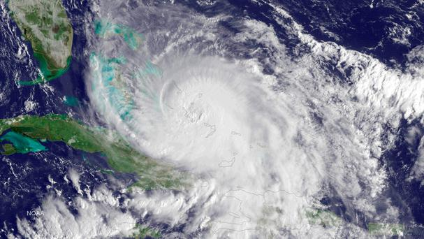 Category 4 Hurricane Joaquin is seen over the Bahamas in the Atlantic Ocean in this NOAA GOES East satellite image. Reuters/NOAA