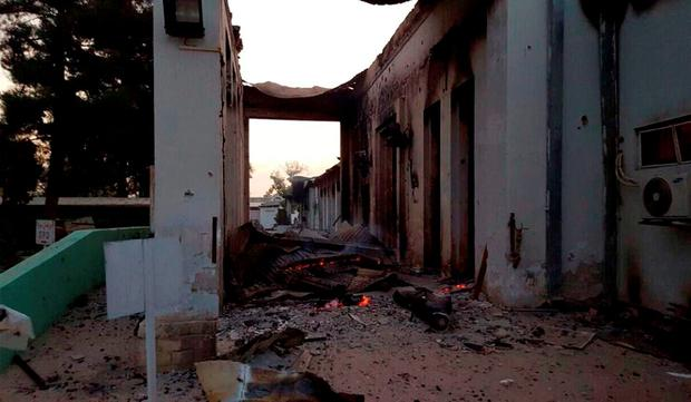 The burnt Doctors Without Borders hospital is seen after an explosion in the northern Afghan city of Kunduz, Saturday, Oct. 3, 2015. Nine local staffers for Doctors Without Borders were killed and 30 were missing after an explosion that may have been caused by a U.S. airstrike. In a statement, the international charity said the