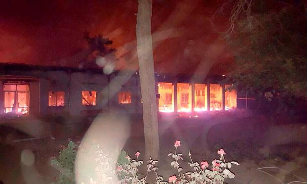 The Doctors Without Borders hospital is seen in flames, after an explosion in the northern Afghan city of Kunduz, Saturday, Oct. 3, 2015 . Nine local staffers for Doctors Without Borders were killed and 30 were missing after the explosion that may have been caused by a U.S. airstrike. In a statement, the international charity said the