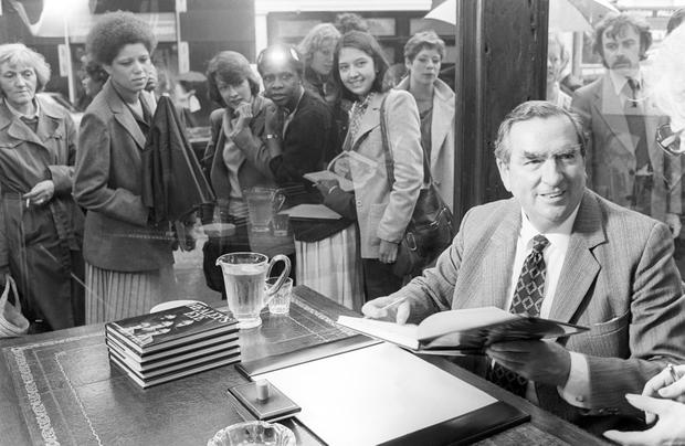 File photo dated 23/09/1980 of Denis Healey signing copies of his book 'Healey's Eye' as he has died peacefully in his sleep this morning at his home in Sussex, his family said. He was 98. PA Wire
