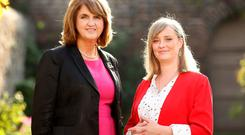 Tainaiste Joan Burton and Mairia Cahill pictured for news. Picture; GERRY MOONEY. 1/10/15