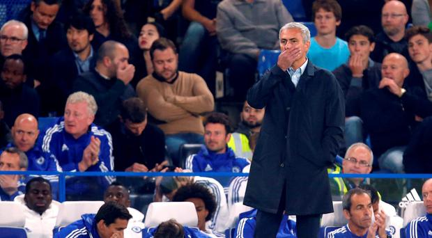 Chelsea manager Jose Mourinho during the Barclays Premier League match at Stamford Bridge, London. Jed Leicester/PA Wire.