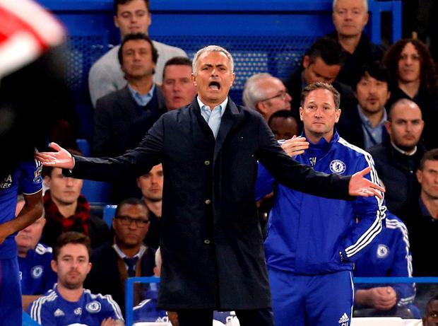 Chelsea manager Jose Mourinho during the Barclays Premier League match at Stamford Bridge, London. PRESS ASSOCIATION Photo. Picture date: Saturday October 3, 2015. See PA story SOCCER Chelsea. Photo credit should read: Jed Leicester/PA Wire. RESTRICTIONS: EDITORIAL USE ONLY No use with unauthorised audio, video, data, fixture lists, club/league logos or