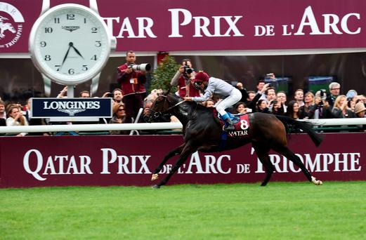 French jockey Thierry Jarnet riding French Thoroughbred racehorse Treve