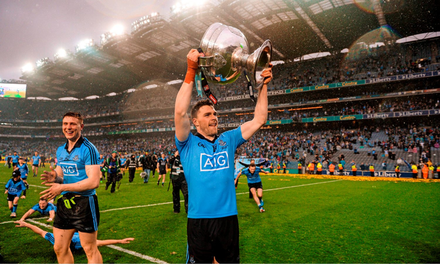 Paddy Andrews celebrates All Ireland glory in Croke Park - the Dubs haven't played a Championship match outside of GAA HQ since 2006