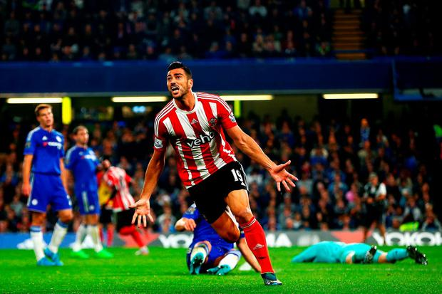 Graziano Pelle of Southampton celebrates scoring his team's third goal