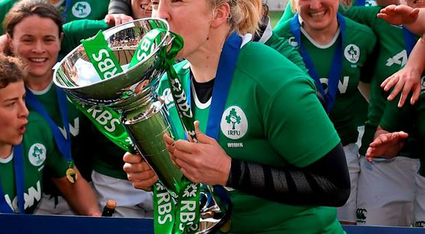 Ireland's women's rugby team celebrate their Six Nations title earlier this year — but female players are under-represented when it comes to sports scholarships at third-level institutions