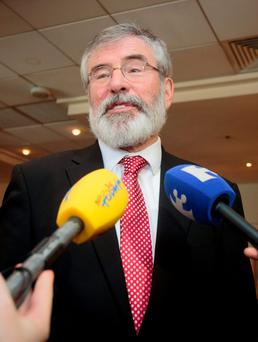 22/09/2015 Sinn Fein President Gerry Adams TD speaking to media on Sinn Fein??s lack of confidence in both the Taoiseach and the Attorney General owing to the findings of the Fennelly Commission interim report at the Alexander Hotel, Dublin Photo: Gareth Chaney Collins