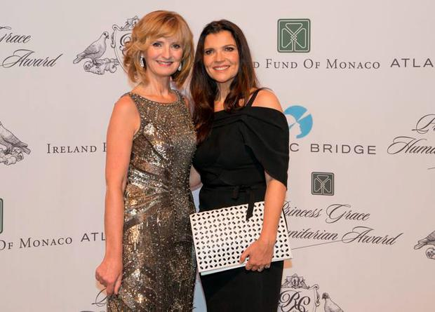 Adi Rocheand Ali Hewson in Monaco after they were presented with the 2015 Princess Grace Humanitarian Award