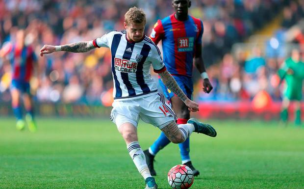 West Bromwich Albion's James McClean in action during the Barclays Premier League match at Selhurst Park yesterday