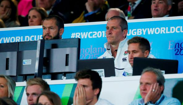 Former England head coach Stuart Lancaster and England backs coach Andy Farrell Reuters / Eddie Keogh