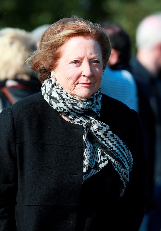 Kathleen Watkins pictured as she arrived for the burial ceremony for writer and playwright Brian Friel at Glenties cemetary. Picture Credit: Frank Mc Grath 4/10/15