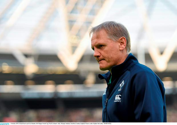 4 October 2015; Ireland head coach Joe Schmidt. 2015 Rugby World Cup, Pool D, Ireland v Italy. Olympic Stadium, Stratford, London, England. Picture credit: Stephen McCarthy / SPORTSFILE