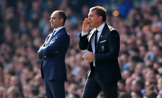 Football - Everton v Liverpool - Barclays Premier League - Goodison Park - 4/10/15 Everton manager Roberto Martinez and Liverpool manager Brendan Rodgers Action Images via Reuters / Lee Smith Livepic