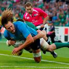 Italy's Joshua Furno denied a try by Ireland's Peter O'Mahony Reuters / Eddie Keogh Livepic