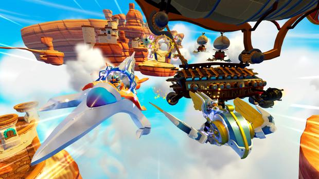 Skylanders: Superchargers - Two of the shiny vehicles you can purchase to access aerial missions.