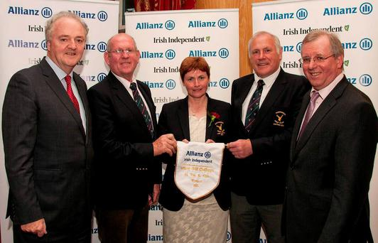 Allianz & Irish Independent Officer Golf Challenge final 2015 at The K Club The winners from Portumna Golf Club …. from left: Brendan Murphy, Group Chief Executive of Allianz, Ger Brehony, President of Portumna, Anne Fahy, Lady Captain, Matt Donohue, Captain and Liam Kelly, Golf Editor, Irish Independent. Photo: Ronan Quinlan