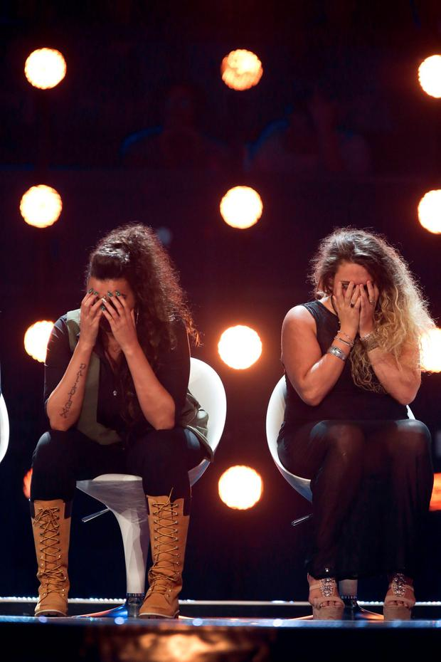 SYCO/THAMES TV Undated handout photo issued by ITV of Monica Michaels and Lucy Duffield (right) during the Six Chair Challenge during the ITV1 talent show, The X Factor.