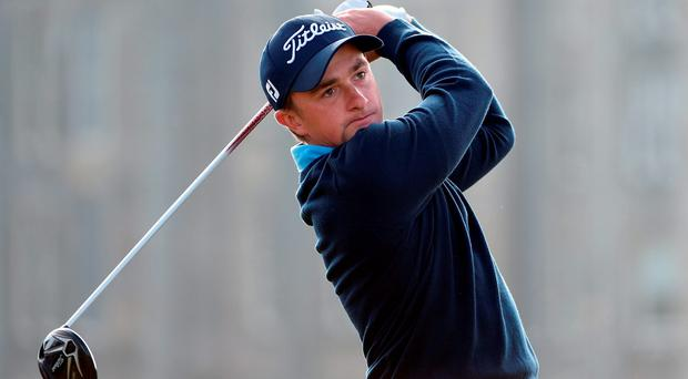 Paul Dunne of drives off the second tee during final round of the Dunhill Links Championship at The Old Course