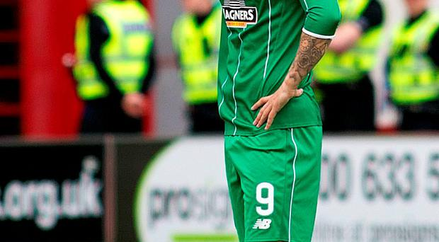 Celtic's Leigh Griffiths celebrates scoring his teams second goal of the gameduring the Scottish Premiership match at New Douglas Park, Hamilton. PRESS ASSOCIATION Photo. Picture date: Sunday October 4, 2015. See PA story SOCCER Hamilton. Picture credit should read: Kirk O'Rourke/PA Wire. EDITORIAL USE ONLY