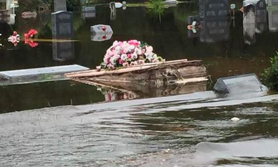 Coffins have risen to the surface in Orangeburg, South Carolina as a result of severe flooding