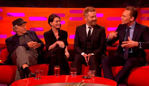 Tom Hiddleston does a Robert De Niro impression in front of the legendary actor on The Graham Norton Show. Anne Hathaway and Kenneth Branagh were also interviewed
