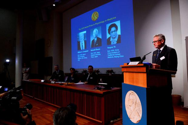 Hans Forssberg (R), member of the Nobel Assembly, addresses a press conference of the Nobel Committee to announce the winners of the 2015 Nobel Medicine Prize on October 5, 2015 at the Karolinska Institutet in Stockholm, Sweden. AFP PHOTO / JONATHAN NACKSTRANDJONATHAN NACKSTRAND/AFP/Getty Images