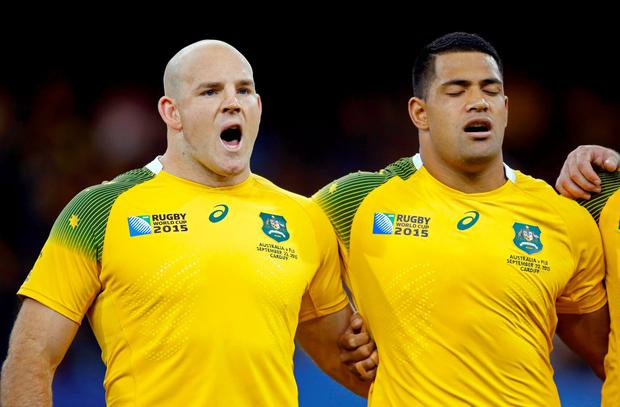 Rugby Union - Australia v Fiji - IRB Rugby World Cup 2015 Pool A - Millennium Stadium, Cardiff, Wales - 23/9/15 Australia's Stephen Moore and Scott Sio line up for the national anthems before the game Action Images via Reuters / Paul Childs Livepic