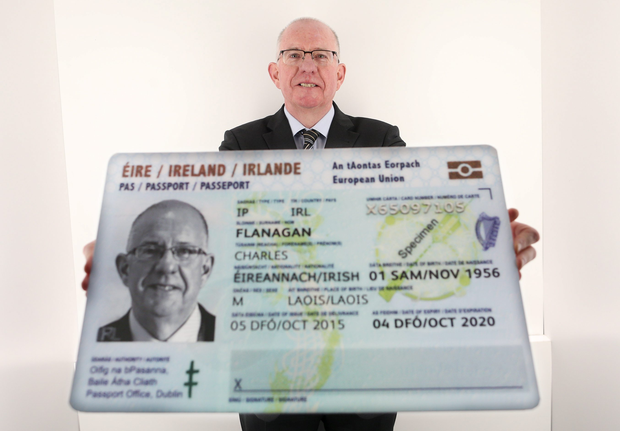 Minister for Foreign Affairs Charlie Flanagan launching the Irish Passport Card for use in 30 European Countries. Pic: MAXWELLS/JULIEN BEHAL.