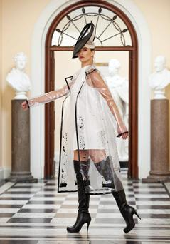 Pictured at the launch of the show in the RDS model Karen Fitzpatrick, wearing a design by NCAD Student Stephanie Johnson