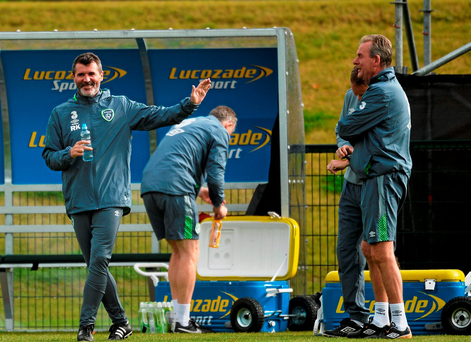 Ireland assistant manager Roy Keane with Steve Walford, coach, during squad training