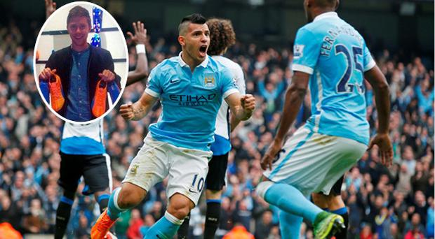 Sergio Aguero celebrates and (inset) Corkman Con O'Brien who designed his boots
