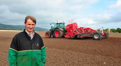 Contractor Nicholas Brennan Leighlinbridge about to start sowing 50 acres of Wheat (JD DIAGIO) at 9.5 stone/Acre for Milford Farms near Clogrennene Co Carlow. Photo: Roger Jones.