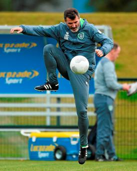 Roy Keane rolls back the years by showing some neat ball control at training yesterday.