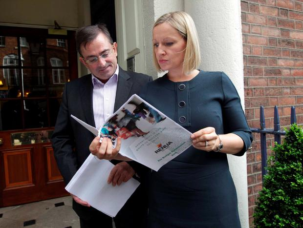 Eddie Hobbs and Lucinda Creighton at the announcement of Renua's pre-budget submission in Dublin