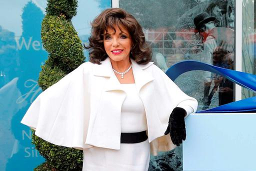 Joan Collins pictured at the Museum of Style Icons at Newbridge Silverware, Co Kildare, yesterday